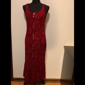 Red Hot Maxi Dress with Buttons and Cut Out Back